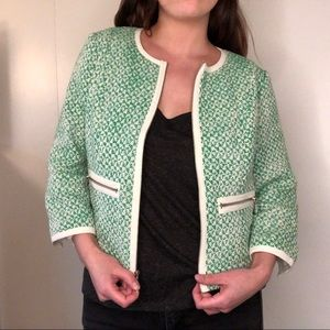 CAbi Green Tweed Zip Blazer
